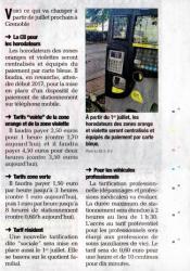 Nouveaux tarifs Grenoble juillet 2016 stationnement
